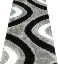 Пътека 3 D Soft shaggy 523 grey black